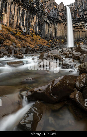 Svartifoss (Black Falls) is a waterfall in Skaftafell in Vatnajökull National Park in Iceland, and is one of the most popular sights in the park. It i - Stock Image