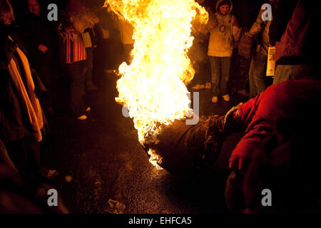 Tar Barrel Rolling at Ottery St Mary in Devon 5th November 2010. - Stock Image