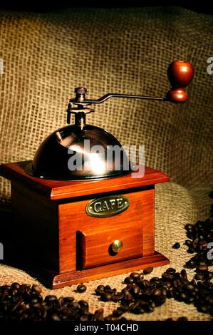 retro manual coffee grinder - Stock Image