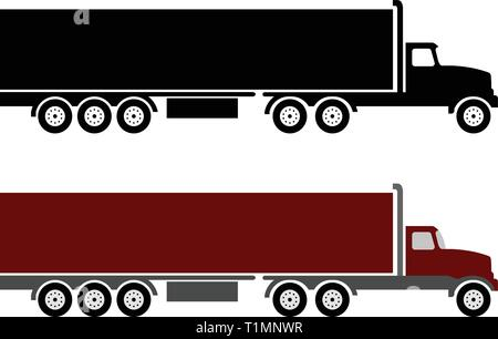 semi truck and trailer simple illustration - vector - Stock Image