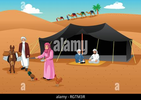 A vector illustration of People Living in the Desert - Stock Image