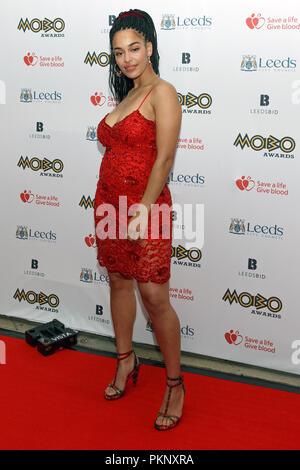 Jorja Smith (Jorja Alice Smith) at the 2017 MOBO Awards. Jorja Smith red carpet, Jorja Smith full length, Jorja Smith singer. - Stock Image