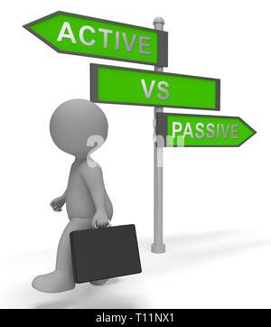 Active Vs Passive Signpost Showing Positive Energy Attitude Or Negative Laziness 3d Illustration - Stock Image