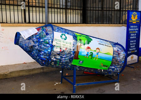 Plastic bottle recycling rocket, North Nicosia, Northern Cyprus October 2018 - Stock Image