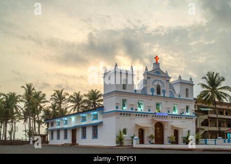 A view of St Anne's Church in Agonda Beach, India. - Stock Image