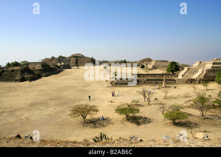 A View of Monte Alban from the North Platform, Buildings K L and M on the Right, Buildings G H I and J on the Left. - Stock Image