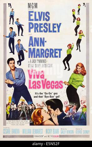 VIVA LAS VEGAS, US poster art, from left, Elvis Presley, Ann-Margret, 1964 - Stock Image