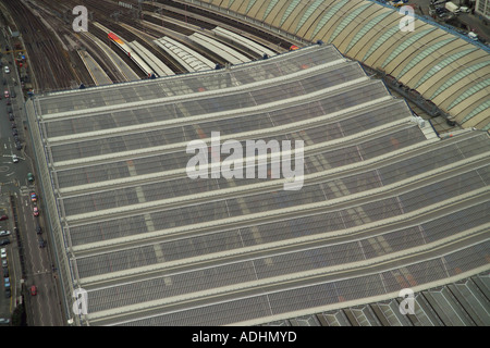 Aerial view of the roof at Waterloo Station, one of the main railway stations in London - Stock Image