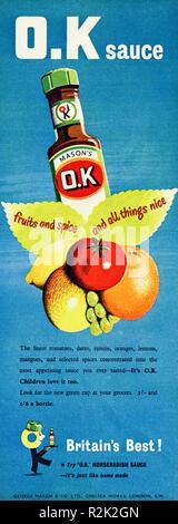 Original 1950s vintage old print advertisement from English magazine advertising Mason's OK brown sauce circa 1954 - Stock Image