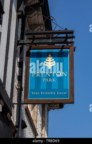 Exterior  sign for the Prenton Park pub by Tranmere Rovers football ground Wirral April 2019 - Stock Image