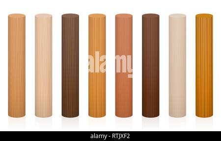 Wooden posts. Collection of wooden rods, different colors, glazes, textures from various trees to choose - brown, dark, gray, light, red, yellow. - Stock Image