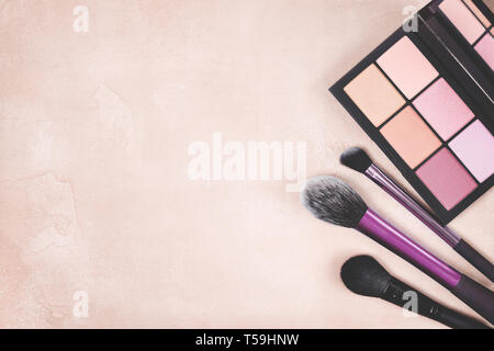 Palette of blush and brush for makeup on a blue background. view from above. toning. copy space - Stock Image