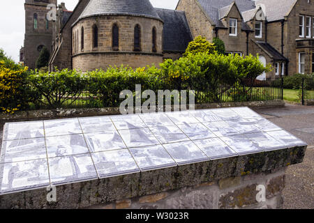 Pictorial historic information board in town square. Buckie, Moray, Scotland, UK, Britain - Stock Image