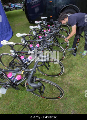 Team Valcar PBM bikes at the start of the 2018 Ovo Women's Tour - Stock Image