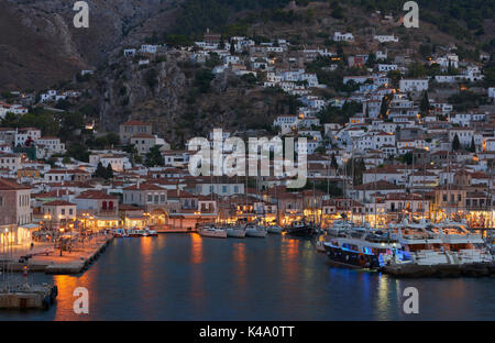 Panoramic view of Hydra harbor and town - Stock Image