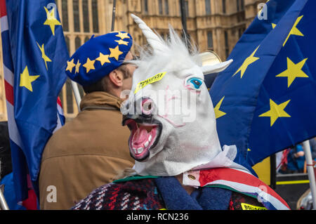 London, UK. 15th January 2019. A unicorn with 'Bollocks to Brexit' stickers. Groups against leaving the EU, including SODEM, Movement for Justice and In Limbo and Brexiteers Leave Means Leave and others protest opposite Parliament as Theresa May's Brexit deal was being debated.  While the two groups mainly kept apart, a small group, some in yellow jackets came to shout insults at pro-EU campaigners, while police tried to keep the two groups separate. Credit: Peter Marshall/Alamy Live News - Stock Image