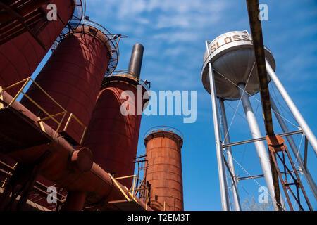 USA Alabama Birmingham The Sloss Furnaces now a National Historic Landmark once a pig iron plant - Stock Image