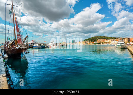 A wide variety of ships harbor at Riva waterfront, on the Dalmatian Coast of Split, Croatia - Stock Image