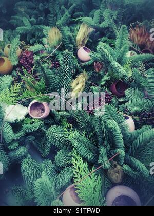 Green fern Christmas decoration - Stock Image