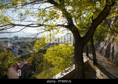 Autumn trees in old Plovdiv, Bulgaria - Stock Image