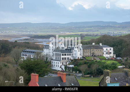 Falls Hotel against the Clare landscape in Ennistymon in County Clare in Ireland - Stock Image