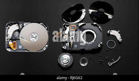 Computer hard disc before and after it is rendered safe from data theft. - Stock Image