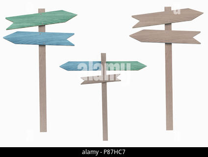 blank and blue and green wooden directional signs on pole, pointing left and right, isolated on white background - Stock Image