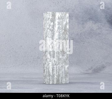 Concrete Capital Letter - I isolated on white background. 3D render Illustration - Stock Image