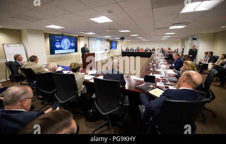 NASA Administrator Jim Bridenstine speaks at the first meeting of the National Space Council Users' Advisory Group, Tuesday, June 19, 2018 at NASA Headquarters in Washington. The Users' Advisory Group will advise and inform the National Space Council on a broad range of aerospace topics, including the impacts of U.S. and international laws and regulations, national security space priorities, scientific and human space exploration priorities, and ways to bolster support. - Stock Image