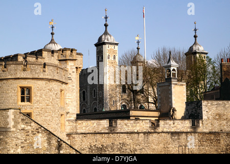 Walls of the Tower of London White Tower in background - Stock Image