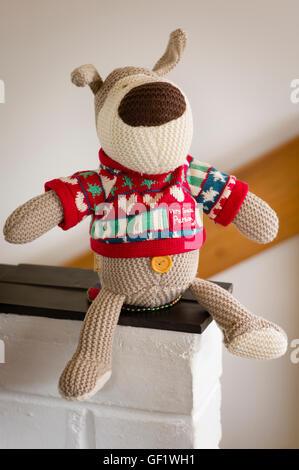 Knitted soft toy dog on shelf - Stock Image