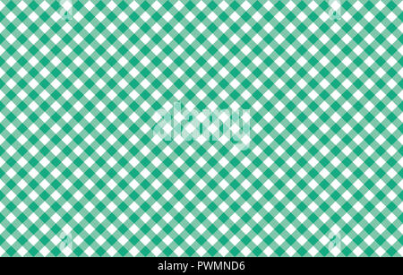 Diagonal Gingham-like table cloth with greenery green and white checks, symmetrical overlapping stripes in a single solid color - Stock Image