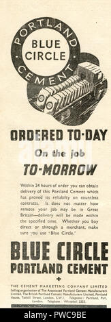 Vintage advertisement for Blue Circle Portland Cement advertising next day delivery by the Cement Marketing Company Ltd. on behalf of the Associated Portland Cement Manufacturers Limited dated January 17th 1936 in the Illustrated Carpenter and Builder magazine - Stock Image