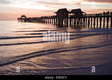 Naples, Florida Pier at sunset - Stock Image