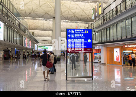 Airside arrivals area Hong Kong International Airport Check Lap Kok. Jayne Russell/Alamy Stock Photo - Stock Image