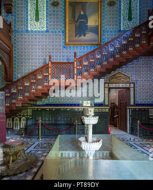 Manial Palace of Prince Mohammed Ali. Main hall of the residence building with Turkish floral blue pattern ceramic tiles - Stock Image