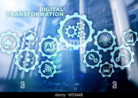 Digital Transformation Concept of digitalization of technology business processes. Datacenter background - Stock Image