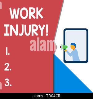 Text sign showing Work Injury. Business photo text accident that occurred during and as result of working Isolated geometrical background man chest ho - Stock Image