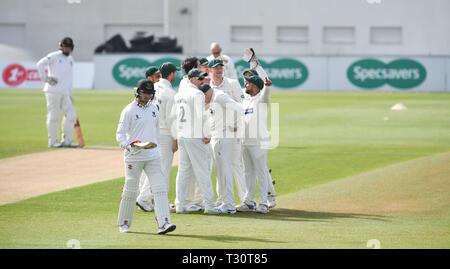 Hove Sussex, UK. 05th Apr, 2019. Phil Salt of Sussex walks off after being dismissed in the first over by Chris Wright of Leicestershire in the Specasavers County Championship Division Two match at the 1st Central County Ground in Hove on a sunny but cool first morning of the season Credit: Simon Dack/Alamy Live News - Stock Image