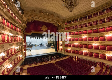Horizontal view inside La Scala in Milan, Italy. - Stock Image