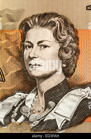 Queen Elizabeth II  (born 1926) on 1 Dollar 1966 banknote from Australia. Queen of the United Kingdom. - Stock Image