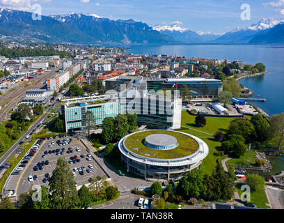 Headquarters of the Swiss multinational food and drink company Nestle S.A. at Lac Leman, Vevey, Switzerland - Stock Image