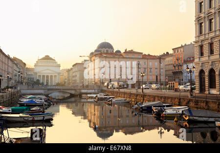 Trieste, Italy. Canale Grande (Grand Canal) in early morning light. - Stock Image
