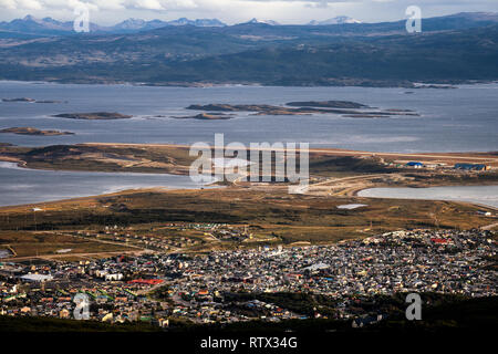 View over Ushuaia and Beagle Channel, Argentina - Stock Image