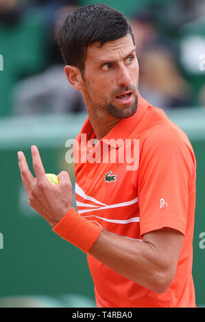 Roquebrune Cap Martin, France. 16th Apr, 2019. Novak Djokovic (SRB) Tennis : Men's Singles 2nd Round match during Monte Carlo Masters at Monte Carlo Country Club in Roquebrune Cap Martin, France . Credit: Itaru Chiba/AFLO/Alamy Live News - Stock Image