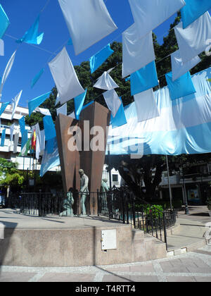 Public Statue in Plaza de la Constitucion, Fuengirola, Costa del sol, Spain. During the Feria del Rosario - Stock Image