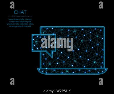 Chat low poly model, Laptop in polygonal style, one new message wireframe vector illustration made from points and lines on a black background - Stock Image