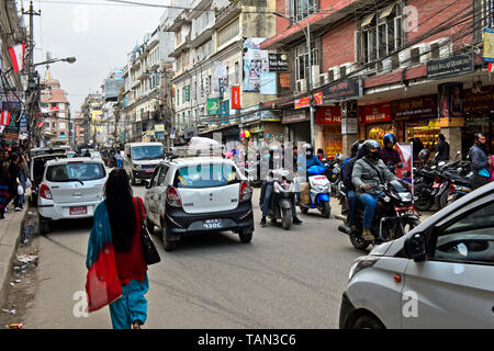 Busy street in the city centre of Kathmandu, Nepal - Stock Image