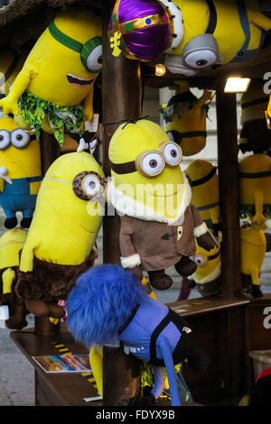 Minions as prizes at a fun fair in Nottingham, UK. - Stock Image