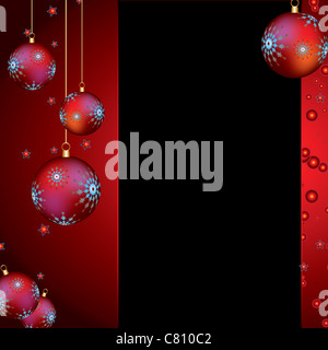 christmas background with red baubles and stars - Stock Image